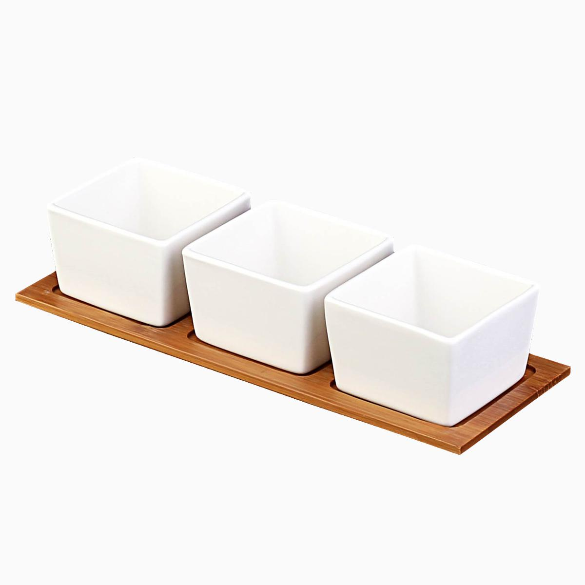 Obdĺžnikové porcelánové misky s bambusovou doskou