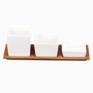 Porcelánové misky s bambusovou doskou