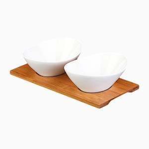 Porcelain Bowls Oval with Bamboo Tablet