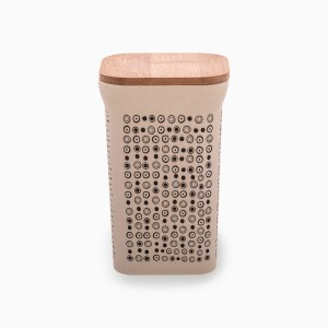 Square canister with bamboo lid 1420 ml