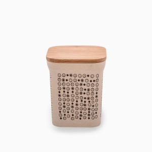 Square canister with bamboo lid 1050 ml