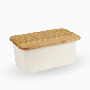 Brotbox Nature mit Akazienholz-Deckel/Schneidebrett